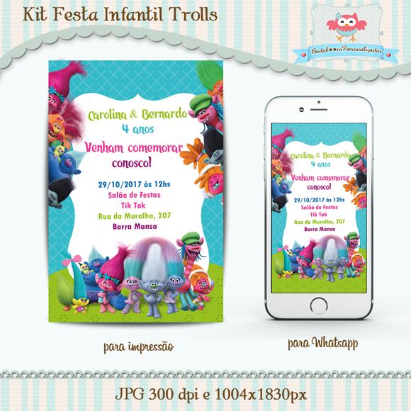 convite, kit, festa, infantil, trolls, arte, digital, whatsapp, para imprimir, internet, personalizado