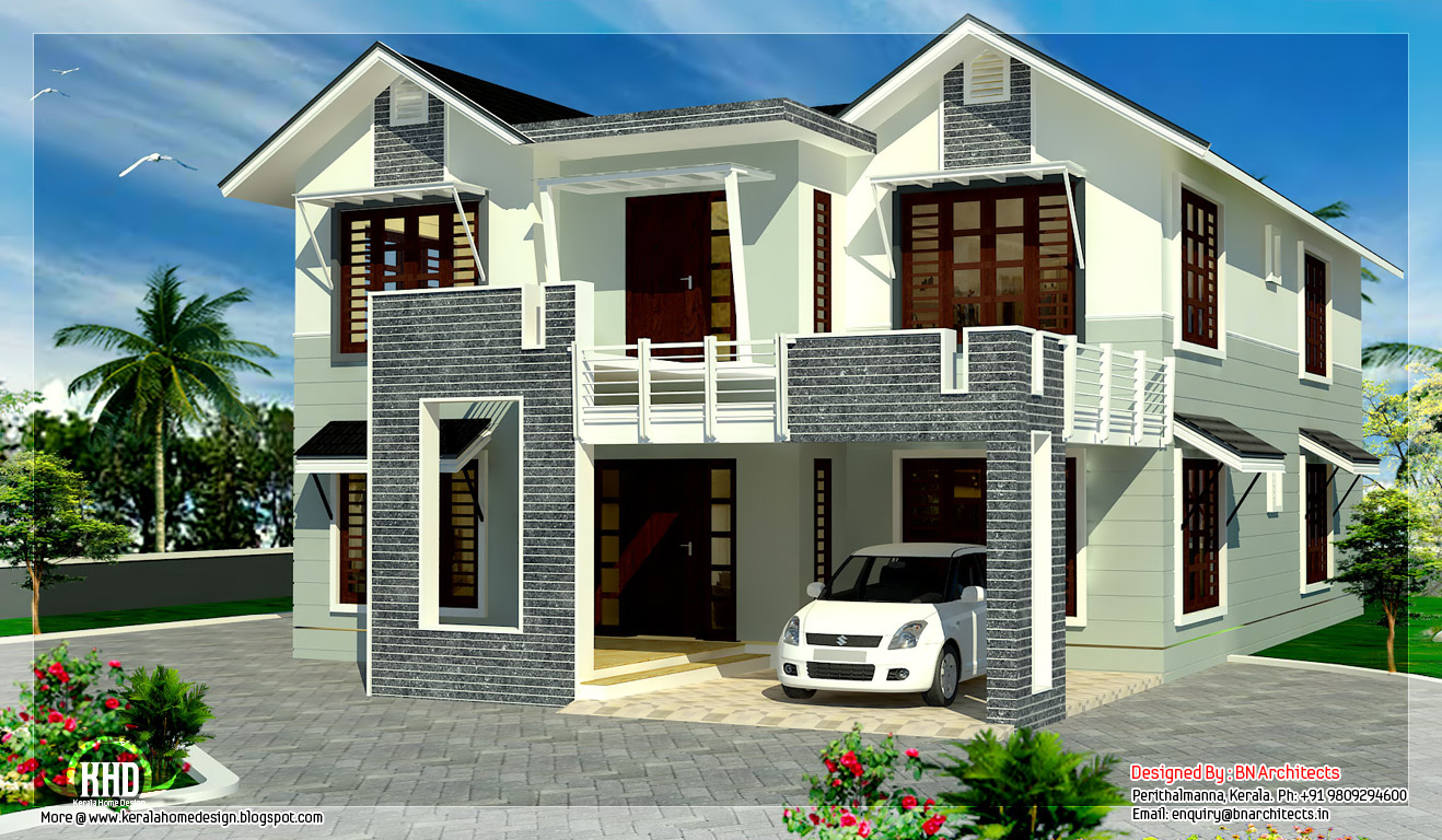 2800 square feet sloping roof 4 bedroom house kerala for Sloped roof house plans in india