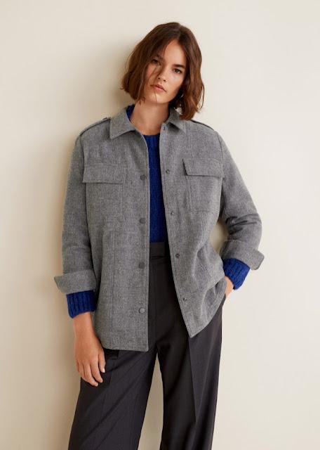 mango wool blend overshirt