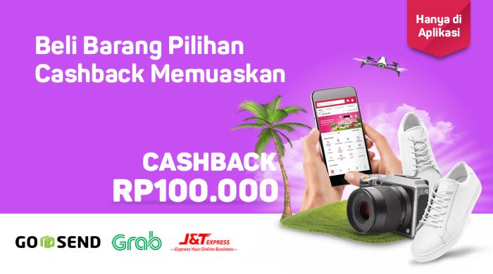 Bukalapak - Voucher Cashback 100 Ribu Pakai GOSEND GRAB JT (s.d 18 Juli 2018)