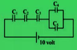 5 kapasitor yang disusun seri paralel