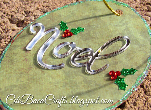 Christmas gift tag with mirrors and holly by CdeBaca Crafts.