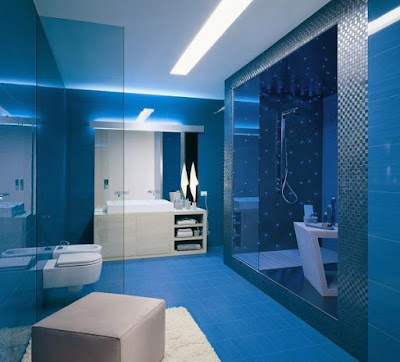 blue bathroom design white vanity