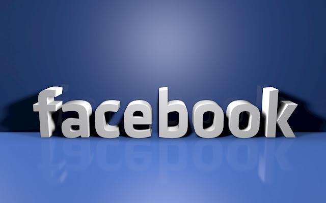 Blauwe Facebook achtergrond met 3D tekst