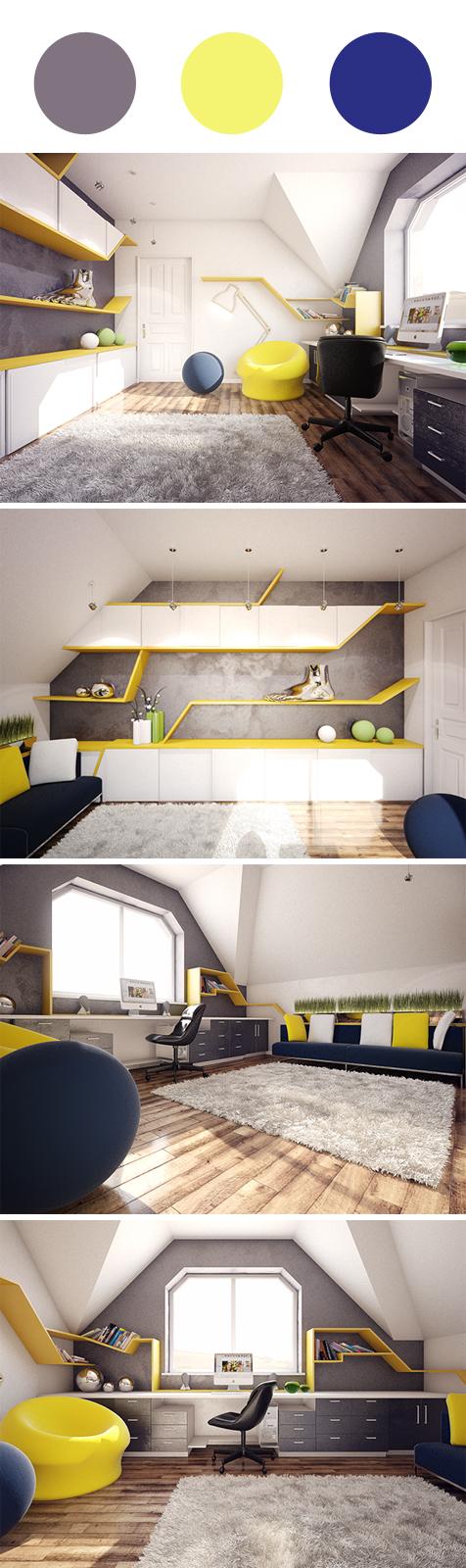 Decoração home office azul, amarelo e cinza