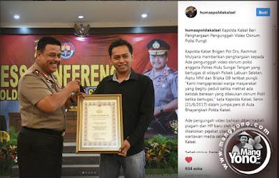 Sopir Perekam Oknum Polisi Pungli Dapat Piagam Penghargaan dan HP Baru