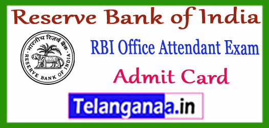 RBI Reserve Bank of India Office Attendant Admit Card  2017