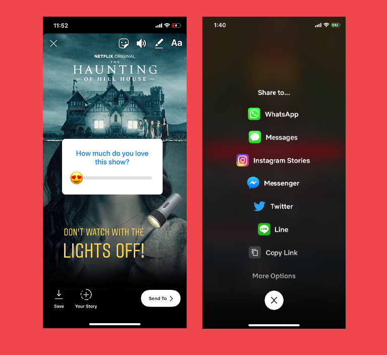 Netflix viewers can share a favorite title directly to Instagram as Stories