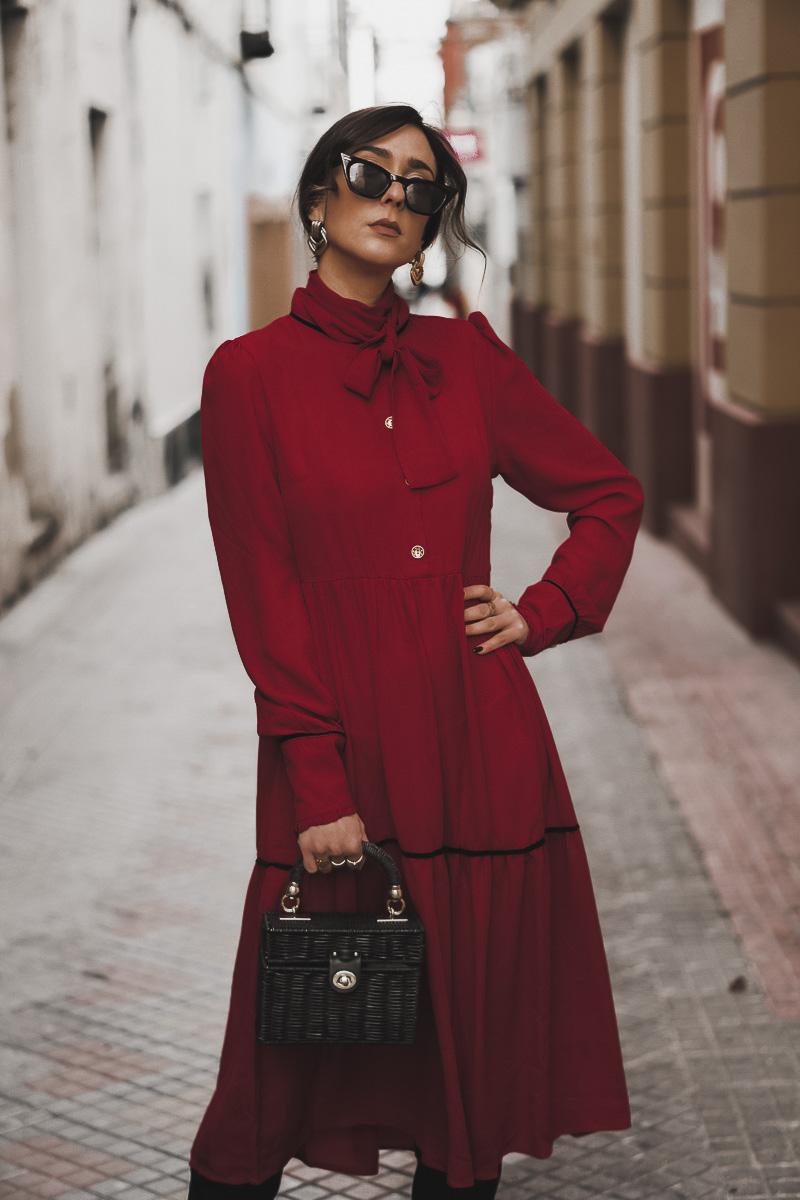 vestido rojo midi