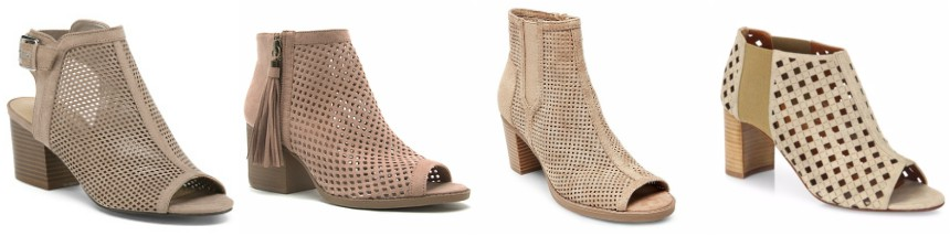 One of these pairs of open-toe perforated booties is from Aquatalia for $495 and the other three are under $50. Can you guess which one is the designer pair?