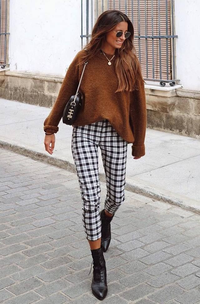 how to style a pair of plaid pants : sweater + bag + boots
