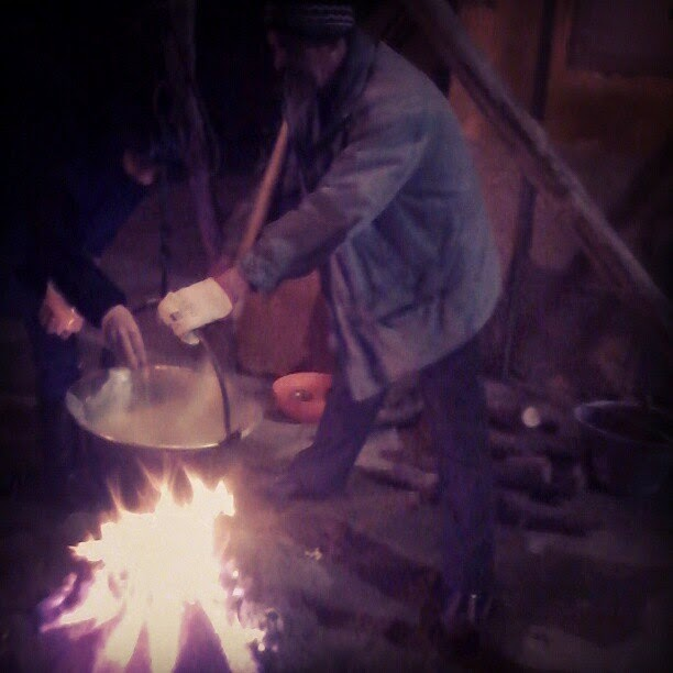 cooking polenta on the fire in winter