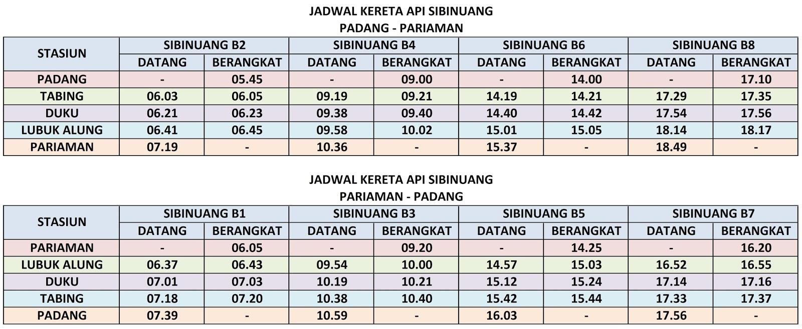 Jadwal Kereta Api Sibinuang Padang  Pariaman PP