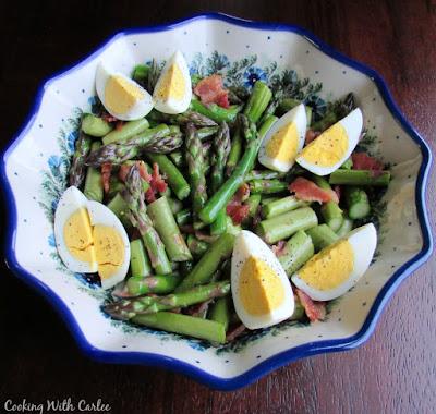 serving bowl of asparagus salad