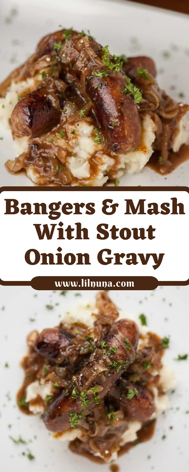 Bangers & Mash With Stout Onion Gravy