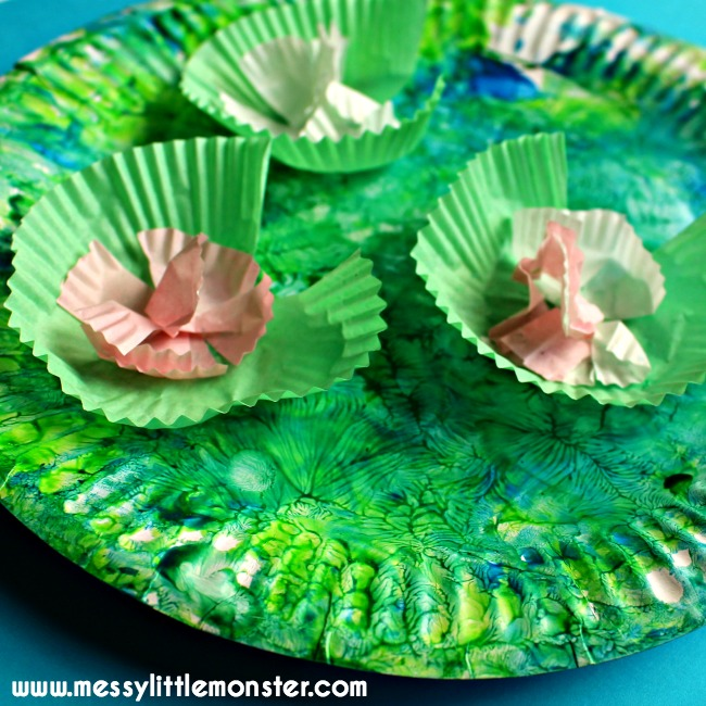 Claude Monet inspired water lilies paper plate craft for kids.