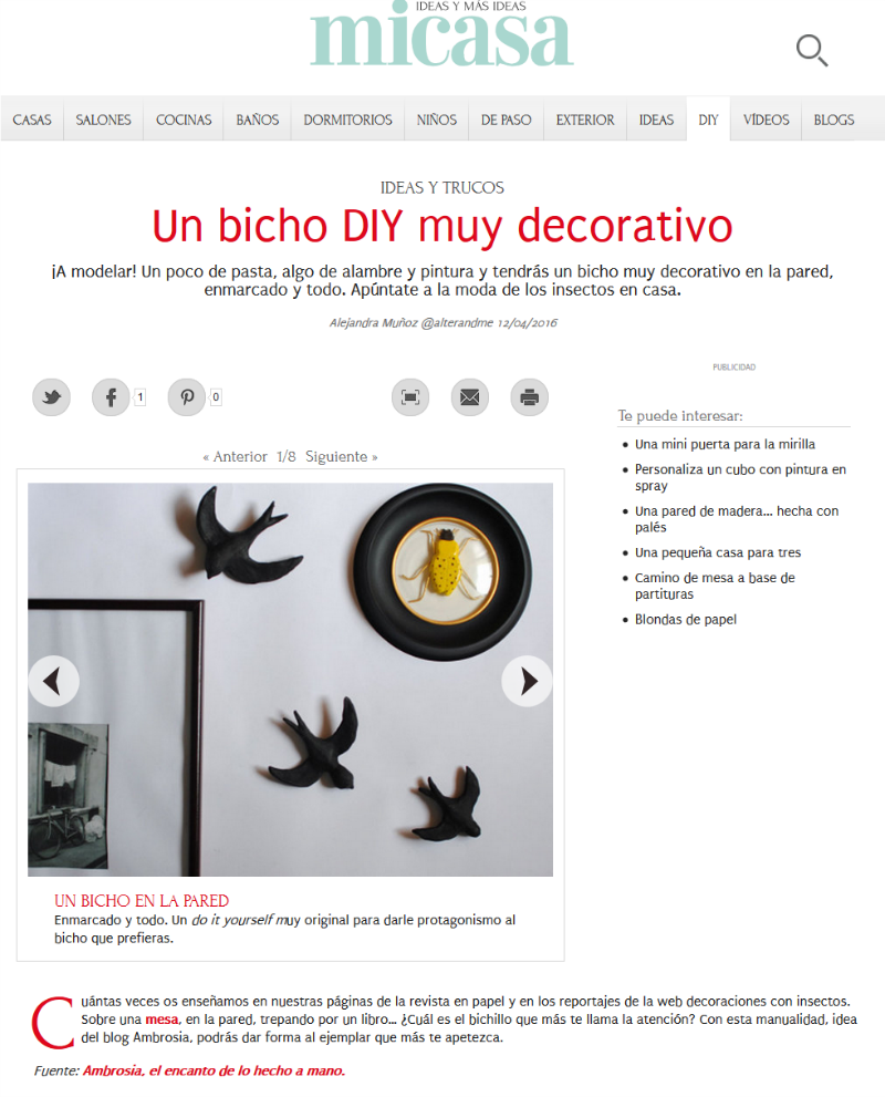 bichito diy en la web revista mi casa
