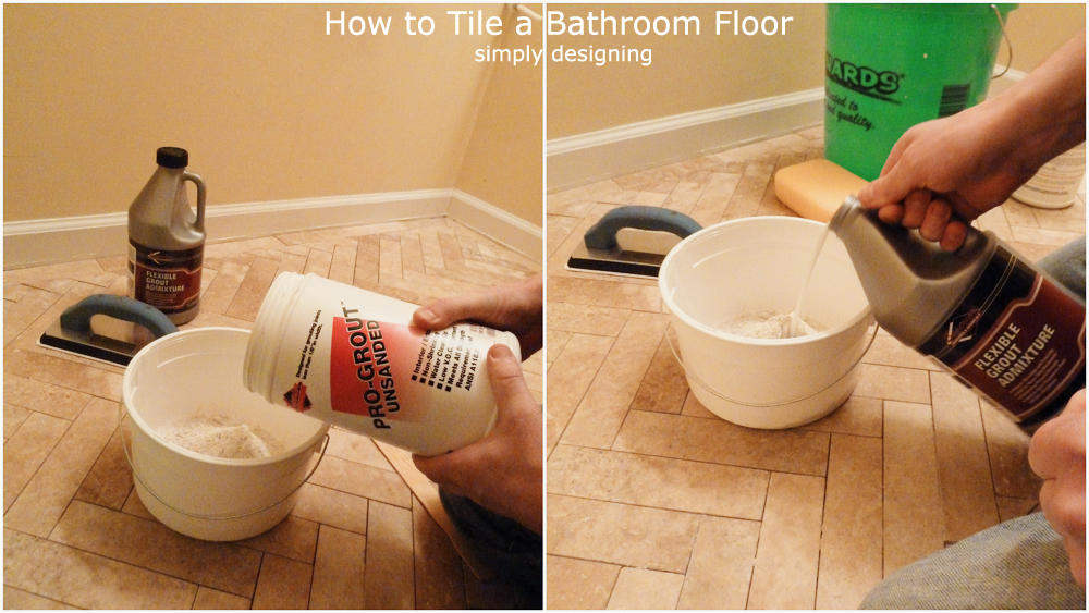 How to Grout Tile | a complete tutorial for laying tile flooring and herringbone tile flooring | #diy #herringbone #tile #tilefloors #thetileshop @thetileshop