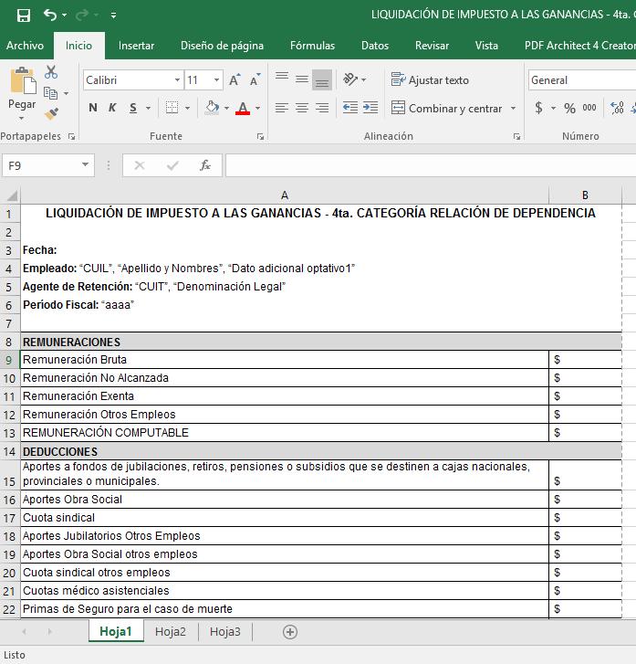 Excel liquidaci n de impuesto a las ganancias 4ta for Liquidacion de nomina excel 2016