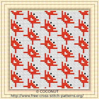 Mini Crab, Pattern for Coasters, Free and easy printable cross stitch pattern