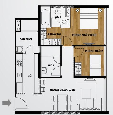 Căn hộ A1 2 phòng ngủ The Ascent
