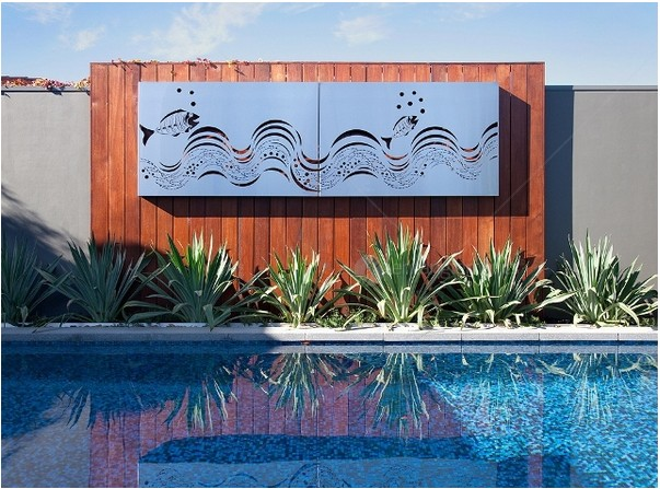 Have A Look At This Exemplary Outdoor Piece That Reflects And Complements The Blue Water Of Pool