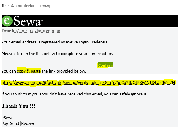 How to Create eSewa Account-- confirm mail