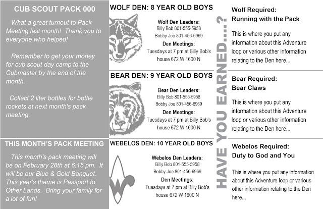 Akelas Council Cub Scout Leader Training Cub Scout Newsletter – Banquet Agenda Template