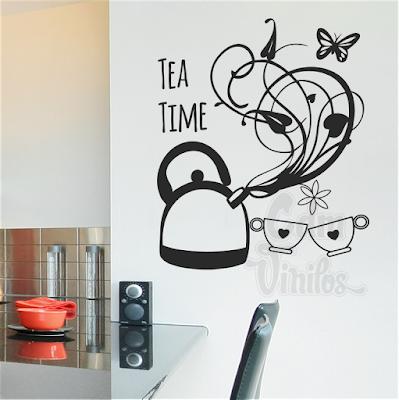 vinilo decorativo cocina pava floral mariposa