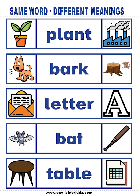 Printable vocabulary building cards for kids learning English
