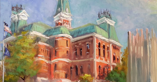 Landmarks of Columbus Indiana of the United States a collection of my plein air paintings from my two week trip to the most remarkable city