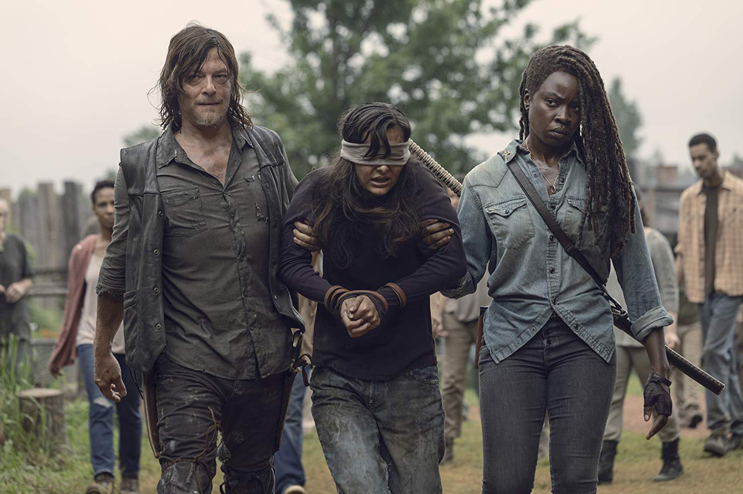 Daryl, Michonne y Lydia en el episodio 9x09 Adaptation de The Walking Dead