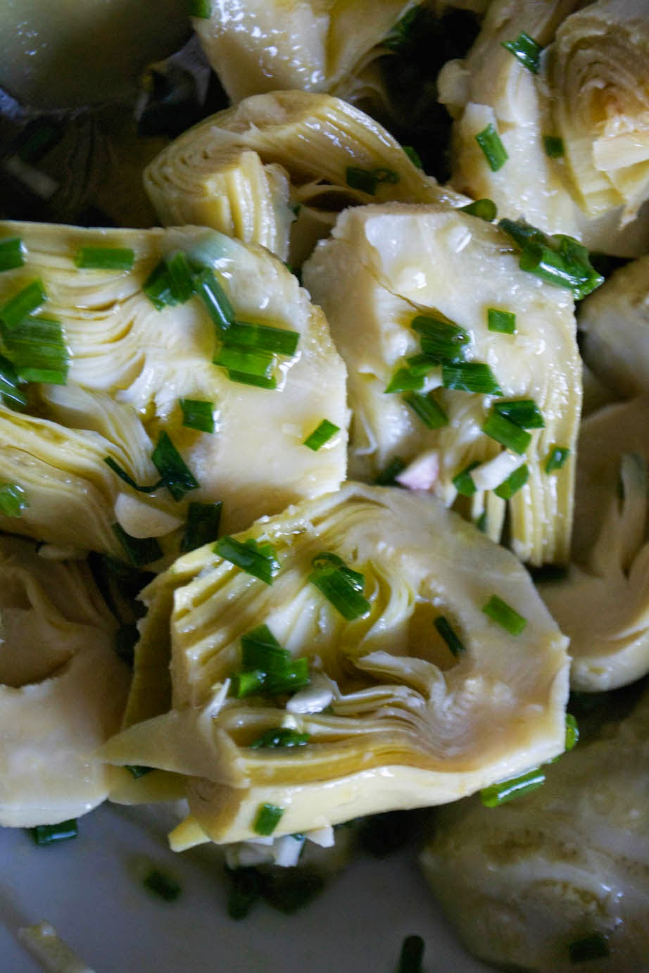 So. Here's something new. Artichoke hearts with garlic and chives.