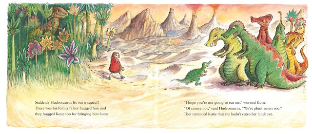 Pages of the book showing the dinosaurs and Katie