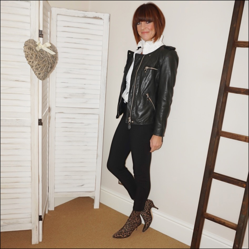 my midlife fashion, isabel marant etoile leather biker jacket, see by chloe ruffle blouse, j crew cameron slim fit trousers, zara leoaprd print sock kitten heel ankle boots
