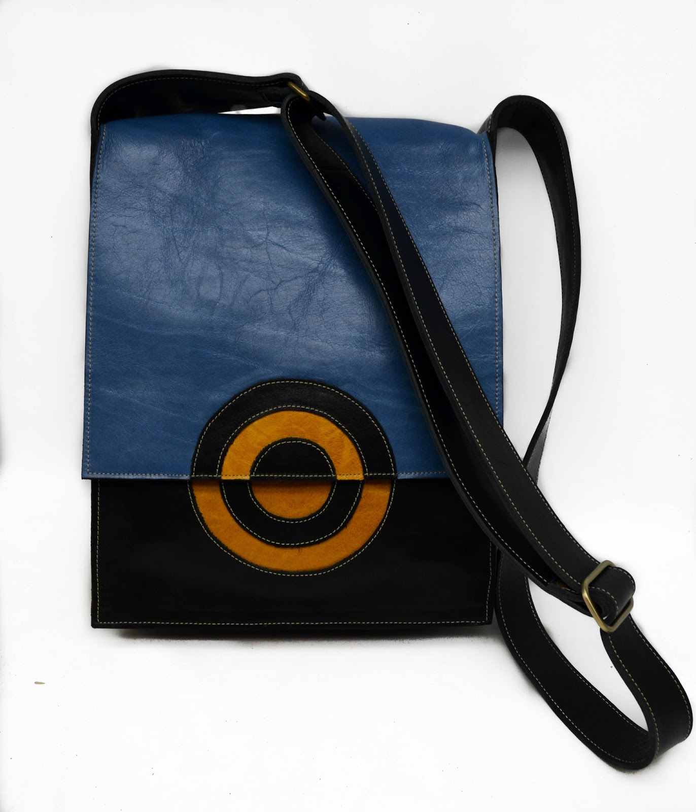 Blue Yellow And Black Leather Chemical Wedding Shoulder Handbag With Adjule Strap