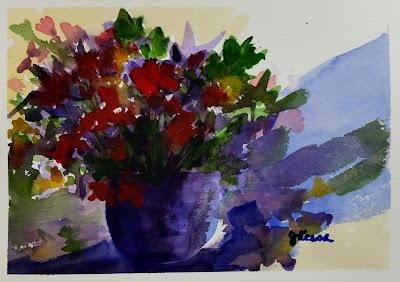 Loose Flower Arrangement Watercolor - John Keese