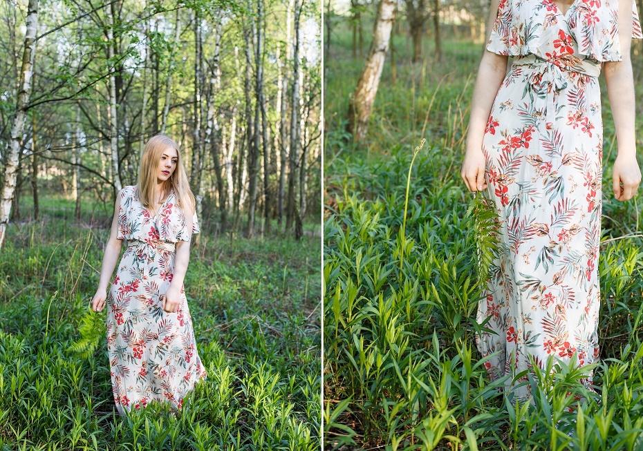 Sukienka w tropikalne wzory