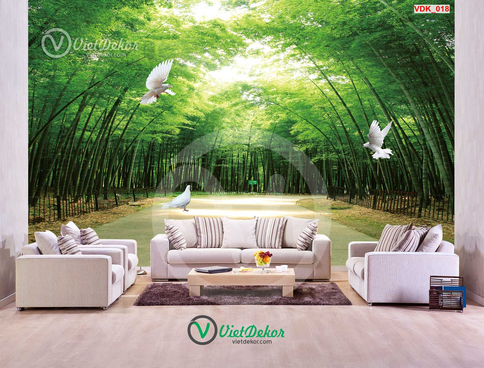Tranh dán tường 3b rừng trức chim bồ câu