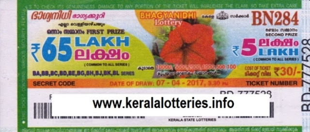 Kerala lottery result live of Bhagyanidhi (BN-230) on  25 March 2016