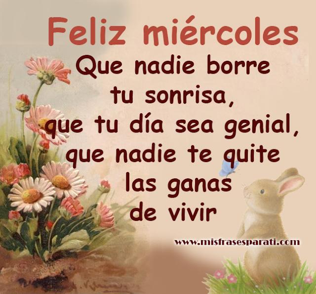Feliz Miércoles Que nadie borre tu sonrisa, que tu día sea genial, que nadie te quite las ganas de vivir