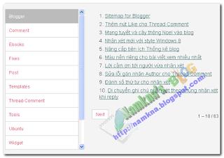 Sitemap dạng input cho Blogger