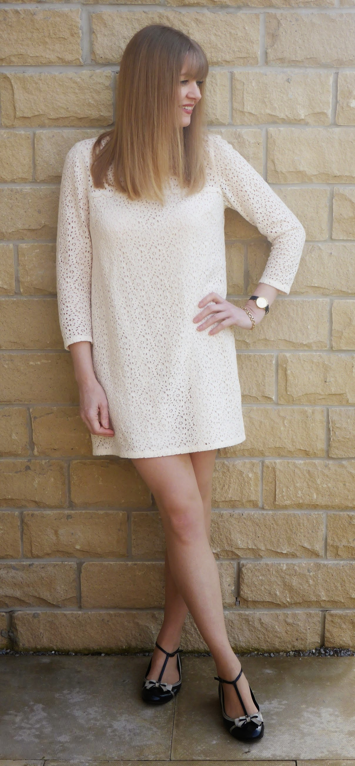 What Lizzy Loves, over 40 fashion blogger wears Jack Wills cream lace shift dress with Mulberry flat May Jane shoes