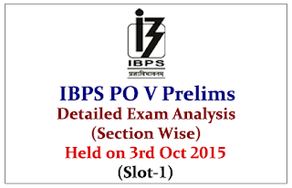 IBPS PO 2015- Prelims Exam Detailed Analysis (Section Wise) Held on 3rd October 2015 (Slot-1)
