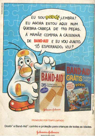 Propaganda antiga do Band-Aid com um quebra-cabeça acompanhado do produto