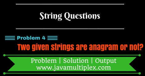 Java program that checks whether two given strings are anagram of each other or not?