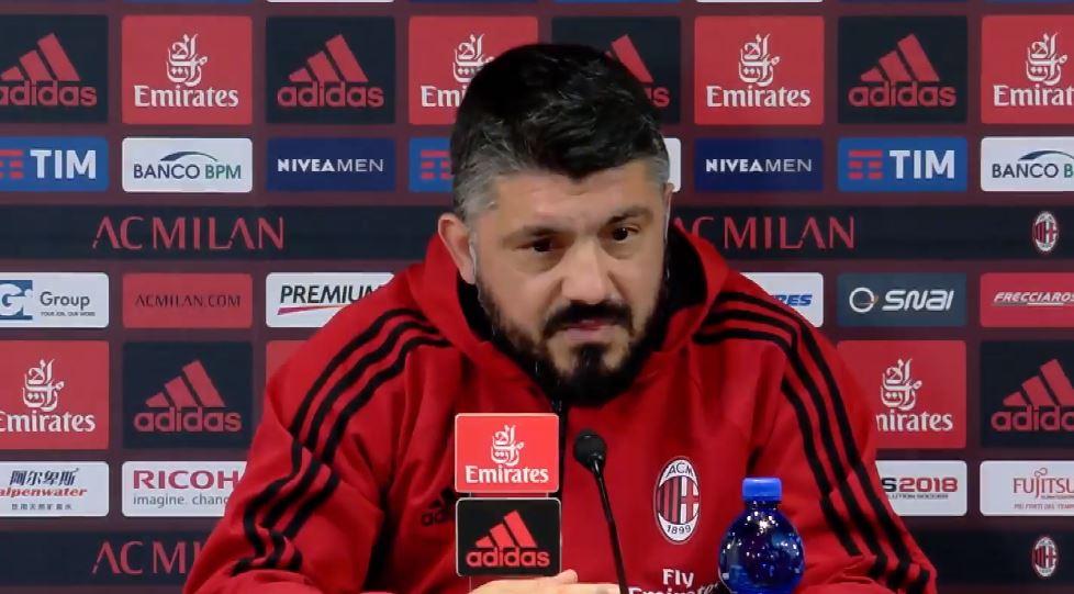 La conferenza stampa di Gattuso pre Genoa Milan