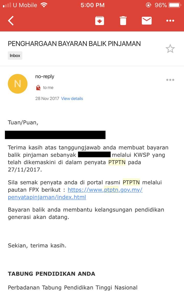 Email pengesahan bayaran PTPTN