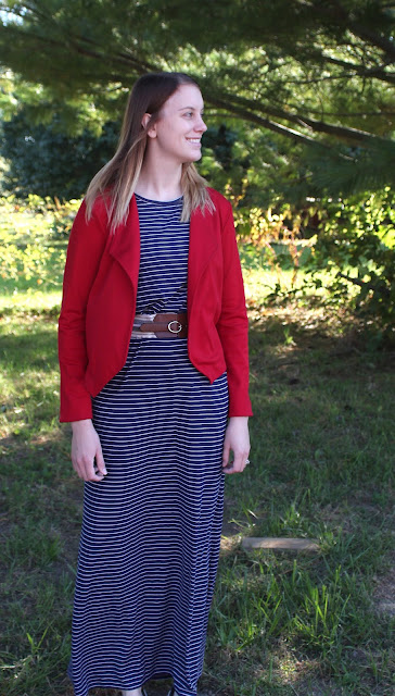 Sewing for my daughter a maxi dress using Butterick 6330 and a red ponte Morris Blazer