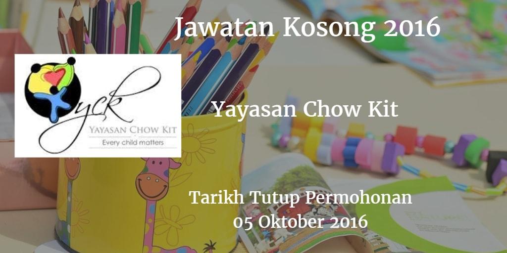 Jawatan Kosong Yayasan Chow Kit 05 Oktober 2016